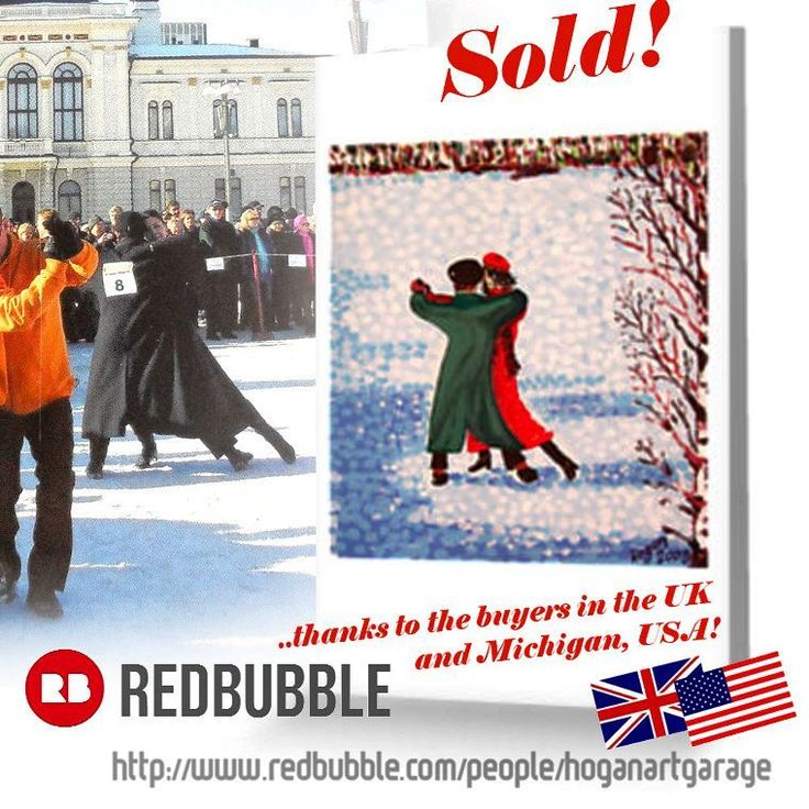 Sold! 😀...thanks to the recent buyers in the UK 🇬🇧️ and Michigan USA 🇺🇸️ who purchased this 'Snow Tango' greeting card from my Redbubble webstore.. ...Happy Christmas, Happy Holidays and Happy New Year! 🎄..(follow link in my Insta bio to my Redbubble store) ..(background photo credit:Jari Makinen) . . #snowtango #dancers #lumitango #redbubbleartist #dancing #sold #thankyou #giftideas #tango #redbubblecreate #cards #redbubble #greetingcards #art #artist #painting #finnishtango #artcards…