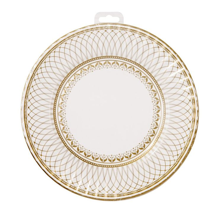 Party porcelain gold & white high end paper party plates #Bonjourfete
