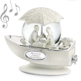 """<strong><font color=""""#8e0c3a"""">♫ Plays """"What a Wonderful                   World""""</font></strong><br/>                                                     They've each found their """"first mate"""" and couldn't be happier. This is a        charming gift for the new couple that celebrates their happy future together.   And when you include your best wishes they'll fall in love all over again . . . this time with your gift! <br><br>-Gorgeous bisque-type finish highlights       silver-plated de..."""