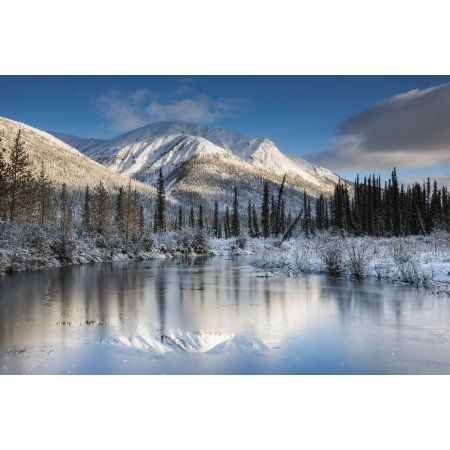 Thin ice on a pond following a fresh snow on mountains in the Brooks Range north of Wiseman Alaska Canvas Art - Carl Johnson Design Pics (19 x 12)