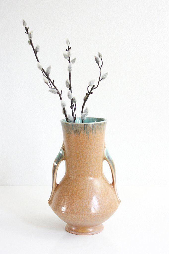 Vintage 1930s Roseville Pottery Orian Vase / Antique Roseville Tan and Turquoise Vase