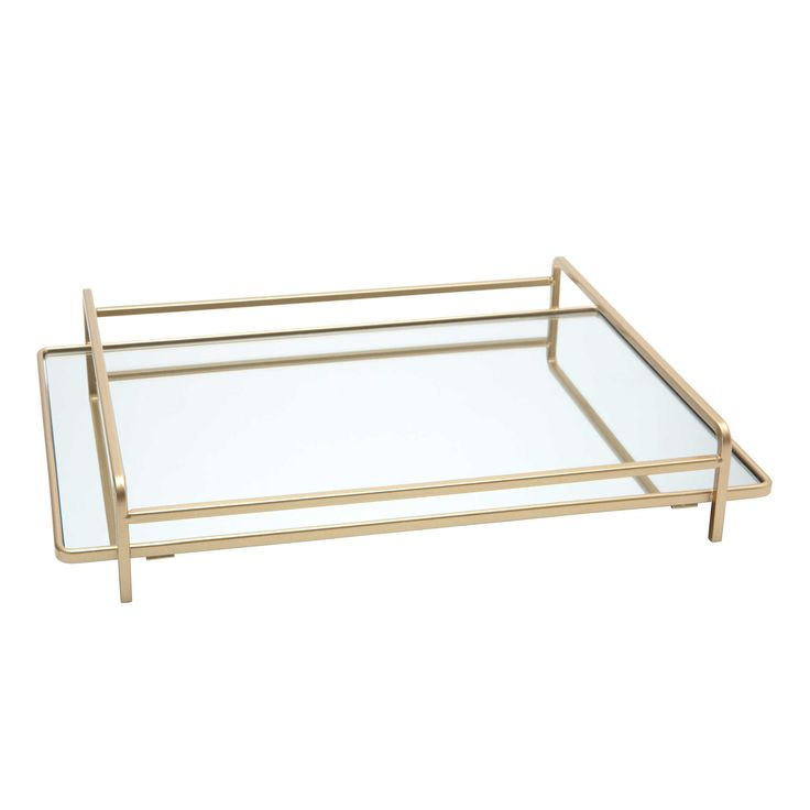 Home Details 4-Rail Large Vanity Mirror Tray in Gold