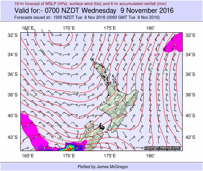 New Zealand Weather Forecast - Valid for:- 0700 NZDT Wed 9 Nov 2016 (1800 GMT Tue 8 Nov 2016)