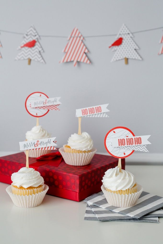 Christmas Cupcakes Toppers - Merry and Bright Christmas Party Paper Craft Collection | Kim Byers