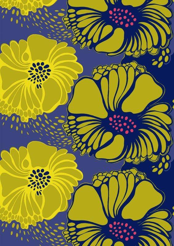 Valmu, blue/yellow by Marjatta Metsovaara