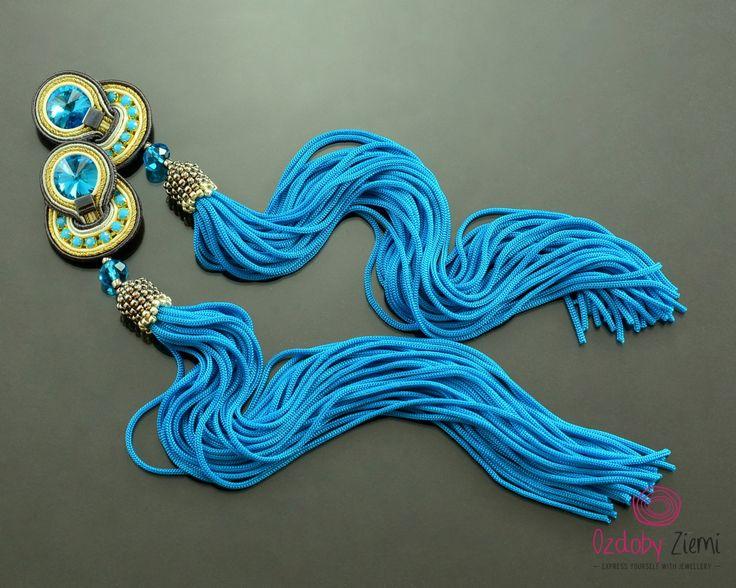 Clip on Tassel Very Long Turquoise Soutache Earrings-Long Unique Gold Gray…