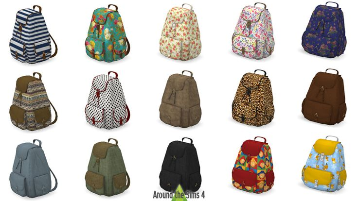 Decorative backpacks from ATS4  http://sims4.aroundthesims3.com/objects/decorative_clutter_06.shtml