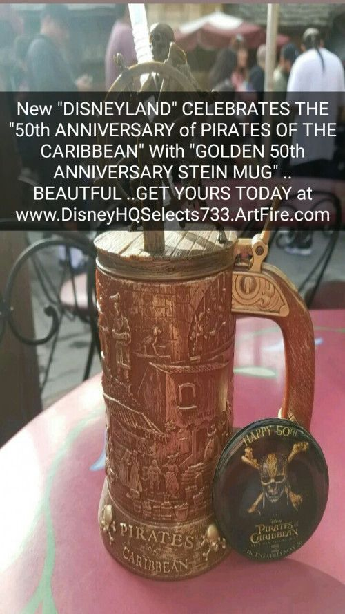 """BUY IT NOW... ONLY - $43.93 ...New DISNEYLAND """"PIRATES OF THE CARIBBEAN 50th ANNIVERSARY GOLDEN STEIN MUG"""".... JUST RELEASED AT """"DISNEYLAND PARK"""" GET YOURS TODAY... ALSO COMES WITH (1) """"LIMITED EDITION"""" PIRATES OF THE CARIBBEAN 50th ANNIVERSARY PIN... ( PLEASE CLICK-ON THE PICTURE TWICE FOR MORE GREAT PICTURES AND DETAILS) .... #DISNEYLAND #WaltDisneyWorld #STARBUCKS #JohnnyDepp #PiratesOfTheCaribbean #DeadMenTellNoTales #PiratesOfTheCaribbean50th #CoffeeMugs #DisneyMugs #Pirates #Beer #Rum"""