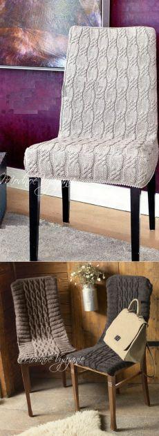 Вязаные чехлы для стульев - Модное вязание