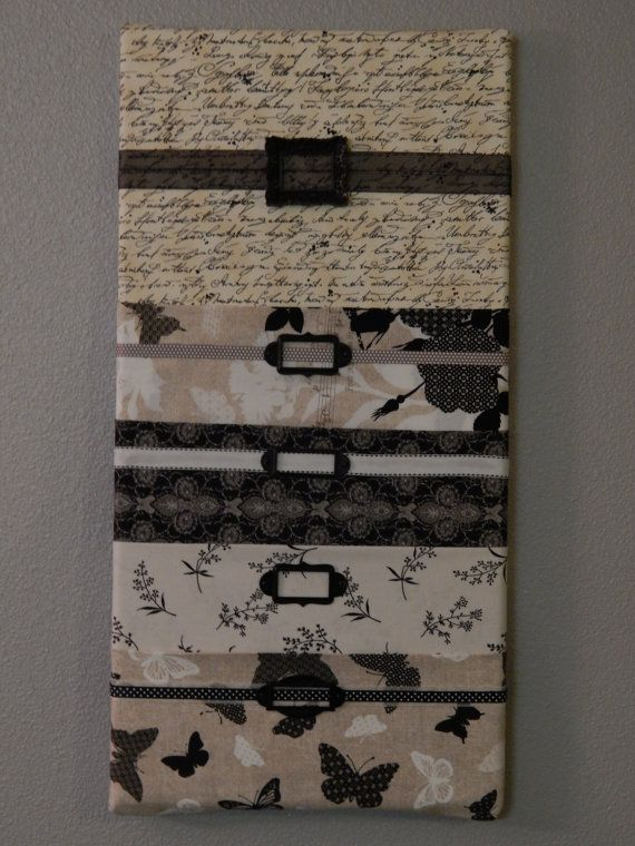 Fabric Wall Mail Organizer Mail Sorter Black White And