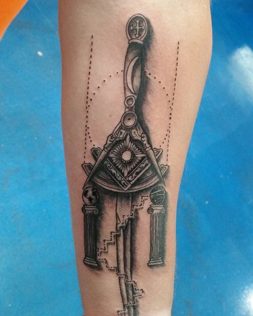 More to come on this  #freemason  #tattoo  #traveler  #travelingman  #mason  #lettherebelight  #boaz  #jachin  #sun  #moon