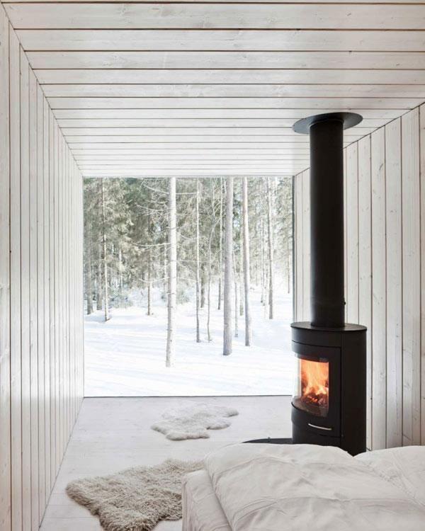 Modern woodland prefab cabin (image source unknown)