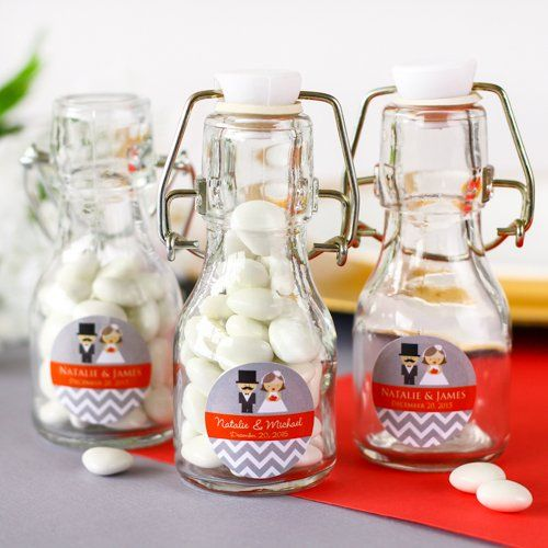 Personalized Wedding Mini Glass Bottle by Beau-coup, $106
