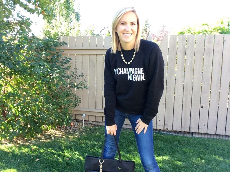 Perfect casual fall style! Jeans, tote and no c champagne no gain sweater