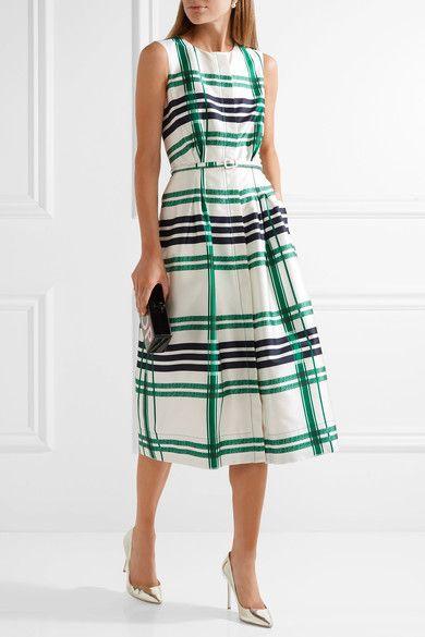 Oscar de la Renta | Plaid silk and cotton-blend midi dress | NET-A-PORTER.COM
