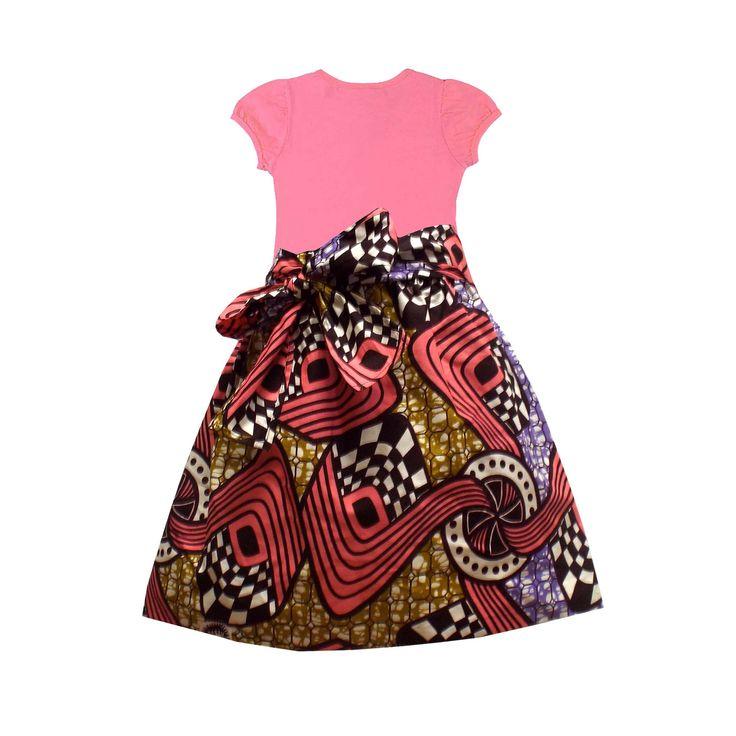 Abina African Print Full Skirt for Little Girls (Pink/Brown/Gold) – D'IYANU