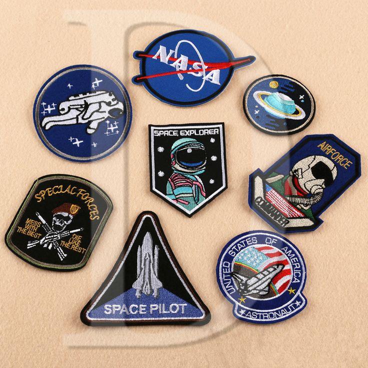 1 unids astronauta de la nasa parches bordado hierro en remiendos de la ropa diy rayas ropa de la fuerza aérea diver pegatinas insignias de encargo