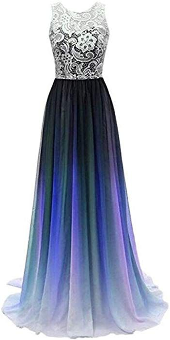 1e48f52e2d9a Women's Lace Ombre Long Prom Dresses Formal Evening Party Gowns Purple 2 at Amazon  Women's Clothing store:
