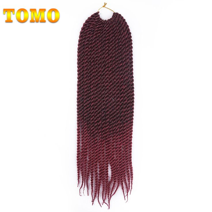 "TOMO Hair 22"" 16roots/pack Crochet Braids Mambo Twist 3Packs Ombre Grey Burgundy Purple Crotchet Braiding Hair Extensions #Affiliate"