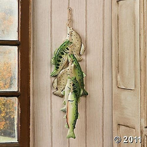 New wooden string of fish woodland lodge cabin rustic home for Fisherman home decor