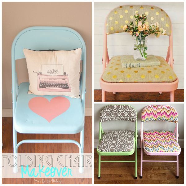 You know those old metal folding chairs that we all have collecting dust? They are about due for a makeover! I found some fun ideas to do with them. From researching about spray painting them, the best paint to use is the brand Krylon. Heart Chair Makeover made by MineForTheMaking Gold Polka Dot Fabric Chairs made by …