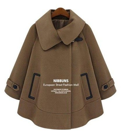 Womens Coffee Vintage Loose Cloak Woolen Coat