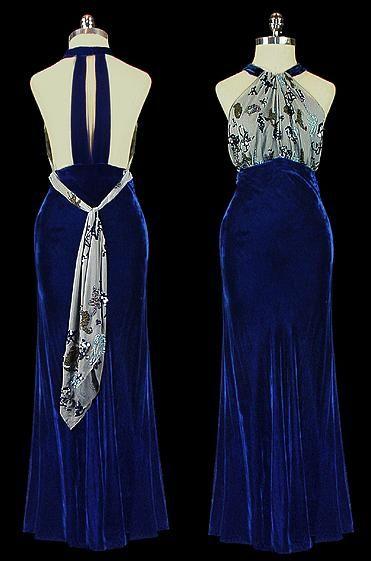 ~1930s halter top evening gown. Velvet skirt. I don't like the idea of velvet, but it's still very pretty.