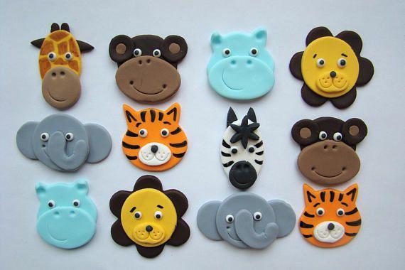 Toppers de cupcake animales de Safari  fondant comestible