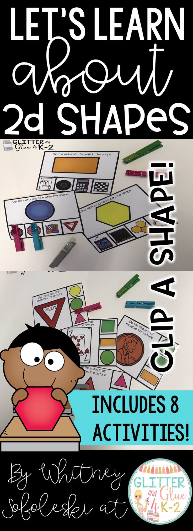 Your students will love these fun and interactive shape activities! Perfect for centers or small group interventions! There are 8 activities included that focus on the 2D shapes: circles, triangles, rectangles, squares, and hexagons. Keywords: shapes, 2d shapes, interventions, kindergarten centers, math centers, fun centers, kindergarten shape activities, shape centers, teaching shapes in kindergarten, shape worksheets, geometry