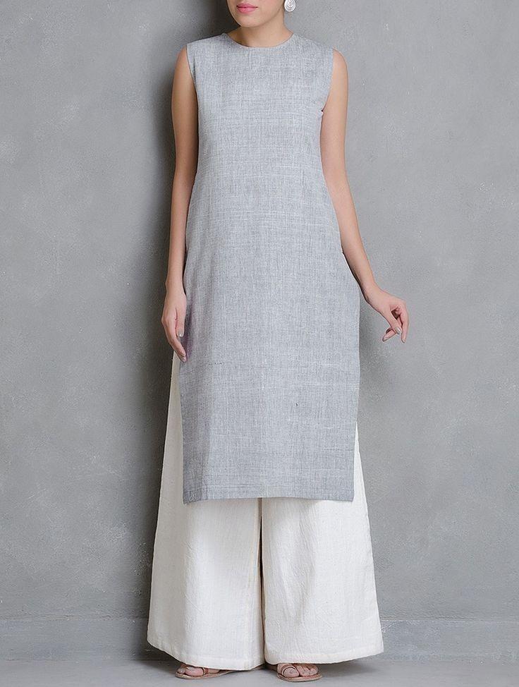 Buy . Grey Sleeveless Khadi Cotton Kurta with Pocket Online at Jaypore.com