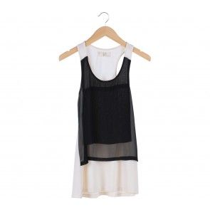 Black And White Sleeveless Sheer Mini Dress