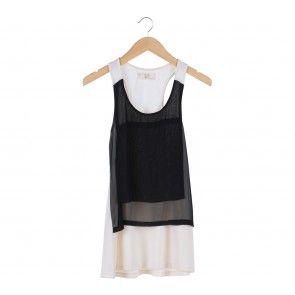 Black And White Sleeveless Sheer Mini Dress