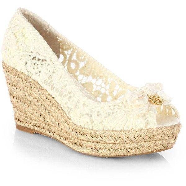 Tory Burch Jackie Wedge Espadrilles ($225) ❤ liked on Polyvore featuring shoes, sandals, apparel & accessories, white, espadrille wedge sandals, tory burch espadrilles, white wedge espadrilles, peep toe espadrilles and white espadrilles