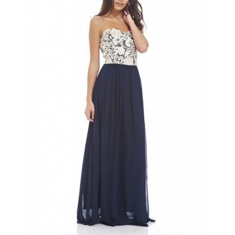 Granatowa długa sukienka bez ramiączek z koronkowym beżowym gorsetem