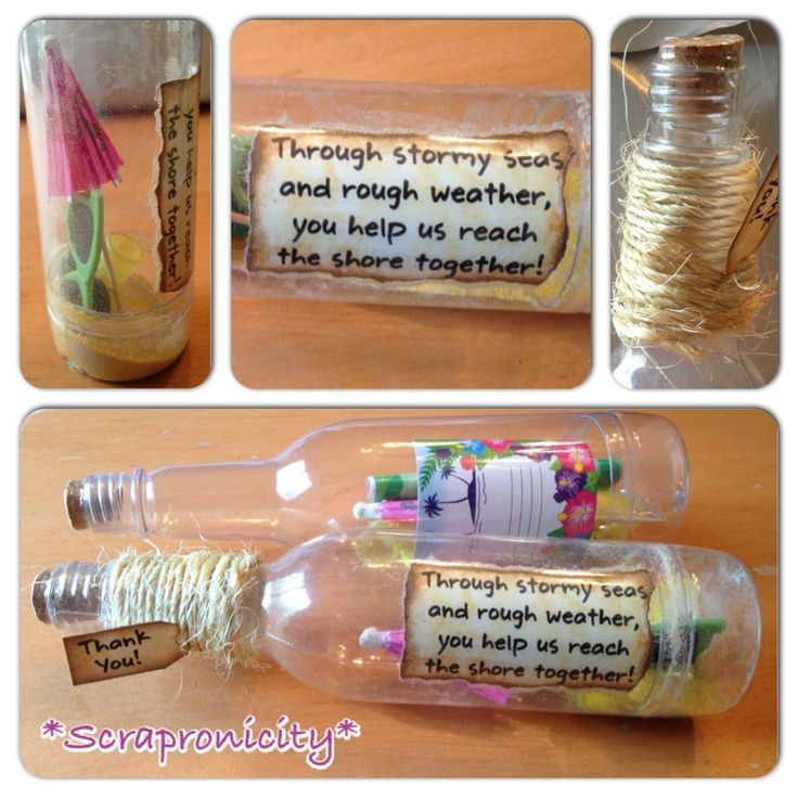 Teachers appreciation lunch gift with a luau theme. Purchased message in a bottle kits and added rope, tag, quote, sand glass and extra sand.