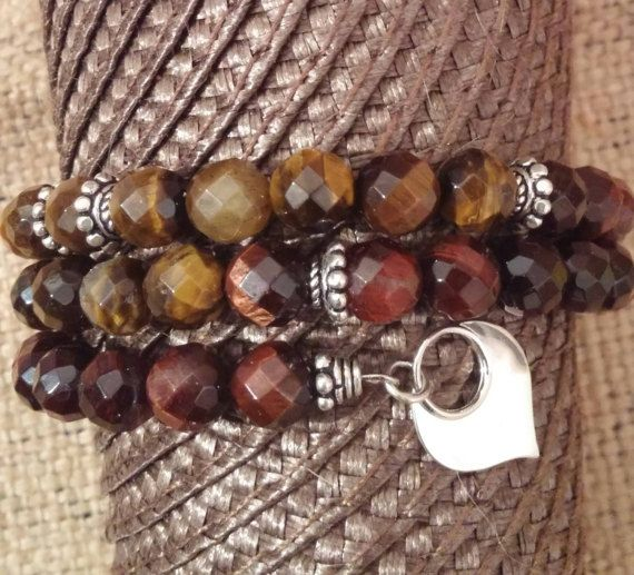 Tigers Eye Bracelet with Sterling Silver Lotus Flower  Beaded