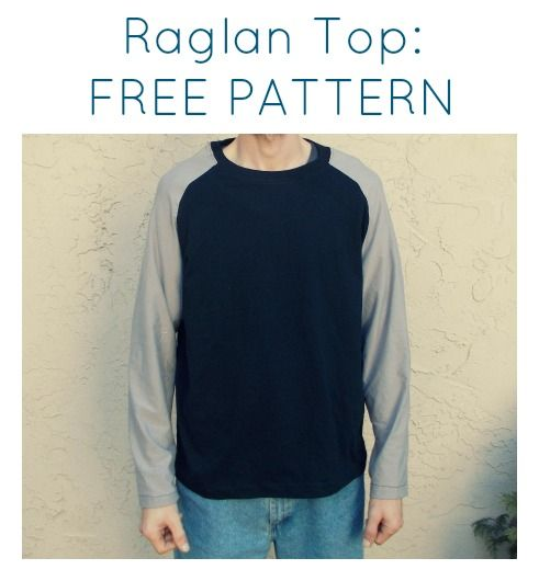 Raglan Top for Men: a free pattern for this easy sewing project.  Ideal gift for guys on this holiday!!!
