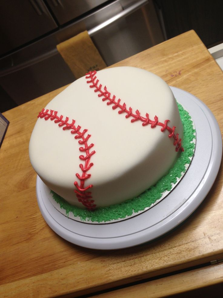Baseball cake fondant baseball birthdaycake sweets by for Anniversary cake decoration