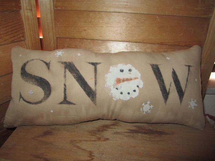 Primitive Stenciled Pillow - SNOW - snowman head - winter - Christmas #Handmade