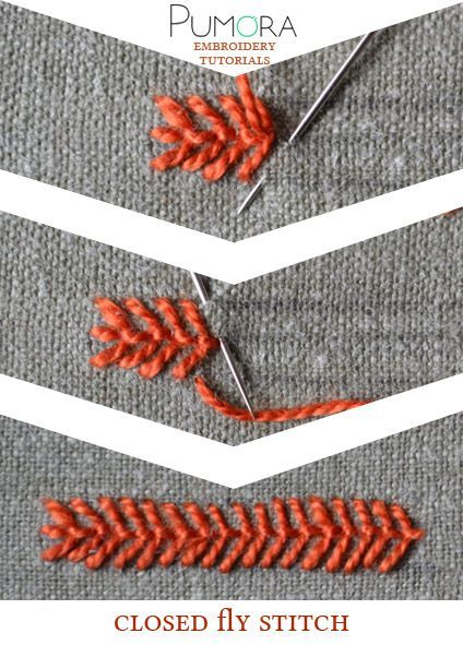 Pumora's embroidery stitch-lexicon: the closed fly stitch