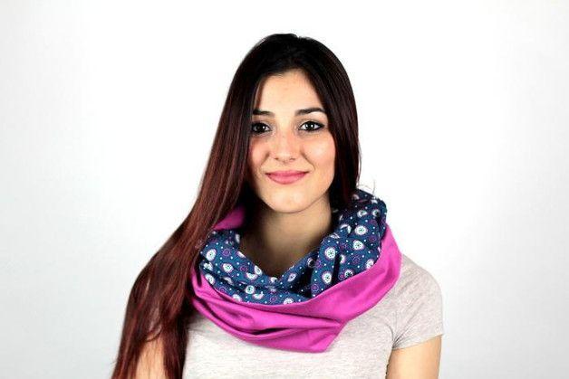 gemustert - Loop-Schal Ethno Blau Pink Jersey Schlauchschal - ein Designerstück von Knitters bei DaWanda