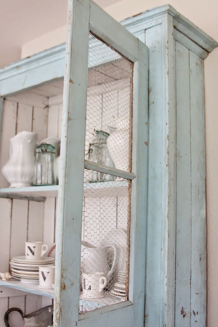 Chicken Wire Cabinets