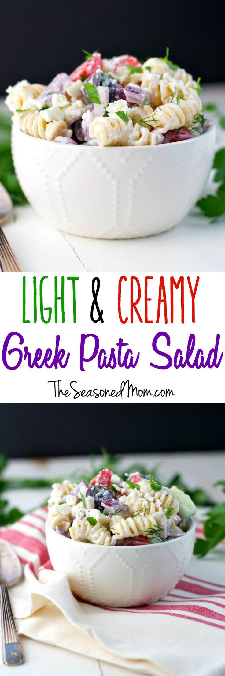 Loaded with fresh veggies, olives, artichoke hearts, and feta cheese and then dressed in a yogurt-based garlic and cucumber Tzatziki Sauce, this Light and Creamy Greek Pasta Salad is a flavorful side dish or vegetarian main course that's perfect for picnics, potlucks, and make-ahead lunches this season! Best of all, the quick and easy recipe is ready in about 20 minutes!