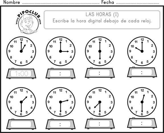 actividades el reloj para niños - Buscar con Google