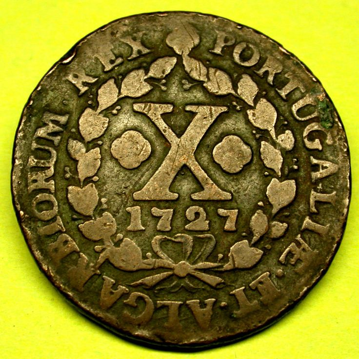1727 Portugal 10 REIS GORGEOUS PORTUGESE COIN GREAT RARE OLD COIN!!!