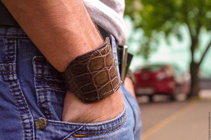 Купить Парные браслеты из кожи крокодила - для молодоженов, парные браслеты, браслет, браслет на руку