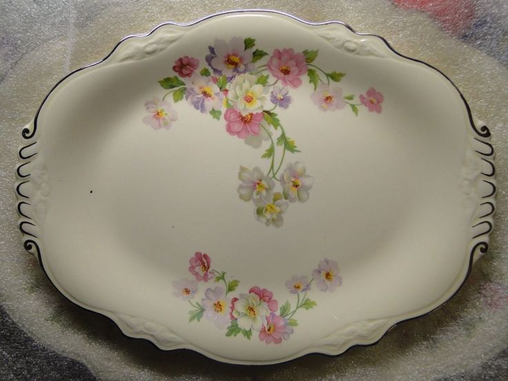 "Homer Laughlin Virginia Rose Platter 11 1/2"" Fluffy Rose EXCELLENT! #HomerLaughlin"