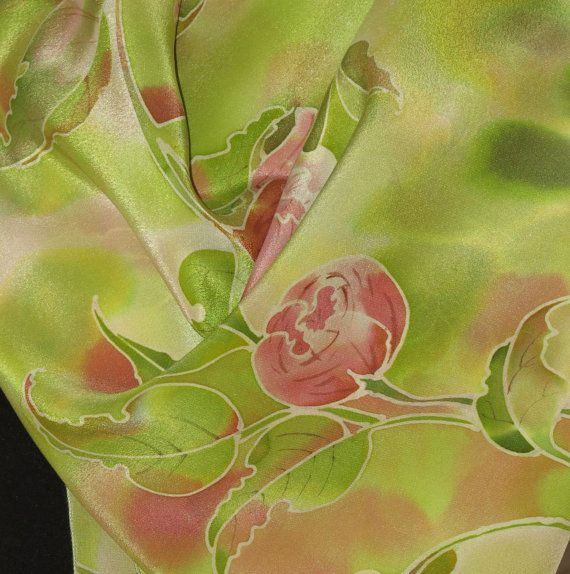 Silk scarf of Peonies Hand painted silk scarf by EshaCraft on Etsy