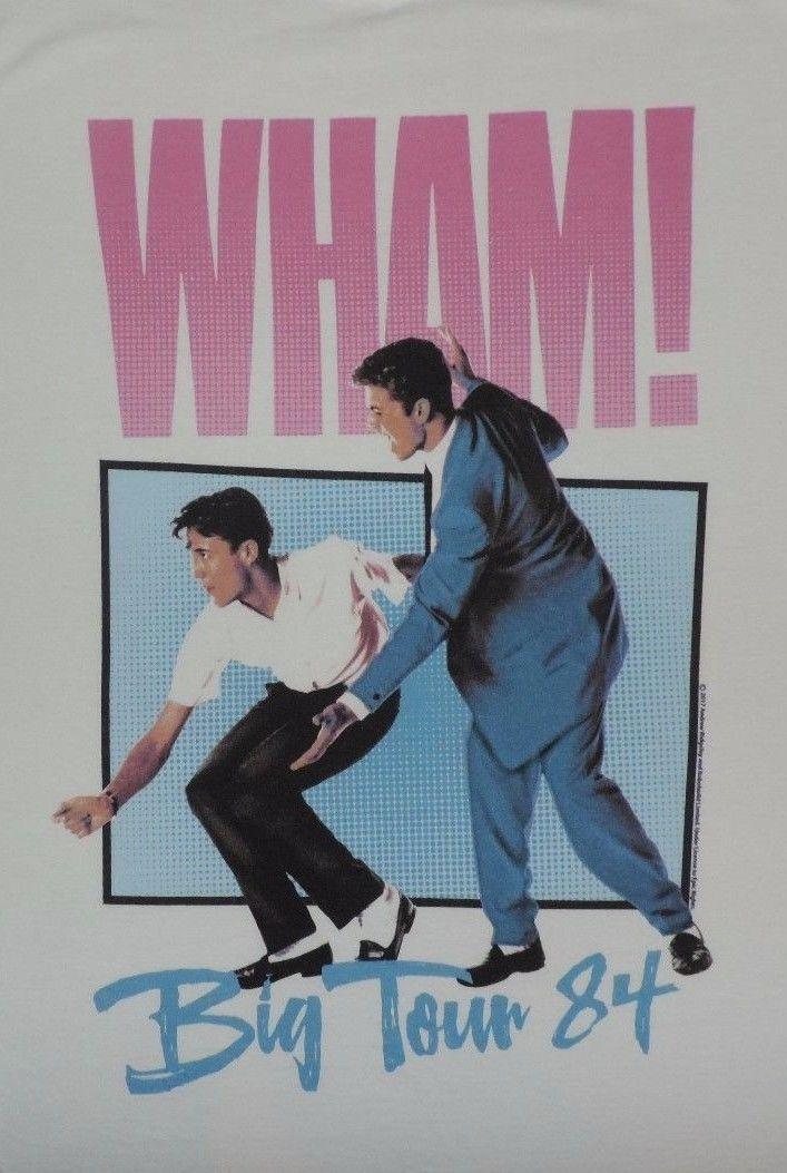 Wham! T-Shirt Big Tour 84 Wham George Michael 80's Retro Tee Music Pop 1980's