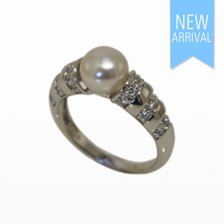 Ring Pearl with 3 lines of CZ set in Sterling Silver. Size 14 #Ring #NewArrivals #GinaAdornments